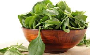 BHEXFG Bowl overfilled with spinach with white background